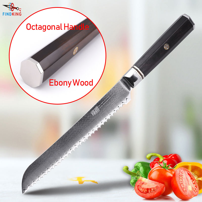 FINDKING Professional 8 inch Bread Knife Ebony Wood Octagonal Handle Ladder Pattern 67 Layers Damascus Steel