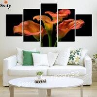 5ชิ้นC Allaดอกไม้ภาพวาดนามธรรมศิลปะตกแต่งบ้านห้องจิตรกรรมผ้าใบพิมพ์(Unframed) F1727