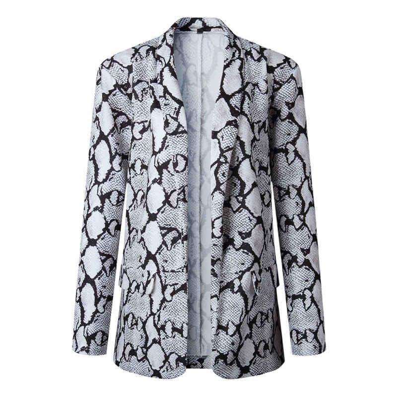 新スタイルの女性のブレザーファッションホット女性のスネークプリントブレザースーツ長袖の女性のコートは生き抜く