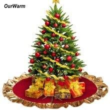 """OurWarm 3"""" Пномпень Рождественская елка юбка Новогоднее украшение гофрированный край Рождественская елка ножной ковер рождественские товары"""