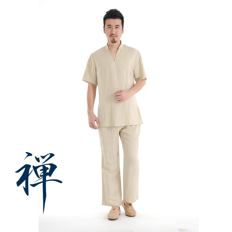 Zen Meditation Yoga Suit Loose Trousers Tops Set Tai Chi Clothing Ladies Linen Outdoor Yoga Clothes Kovos Meno Rinkiniai