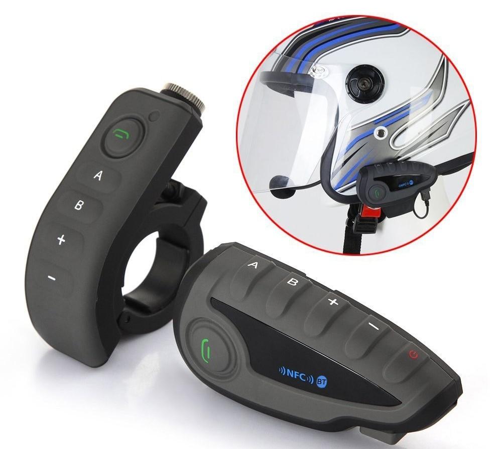 V8 Intercom BT Interphone Motorcycle Helmet Bluetooth Headset Intercom Intercomunicador Moto With FM NFC For 5 Riders Black e 3lue ebt922 nfc bluetooth headset black