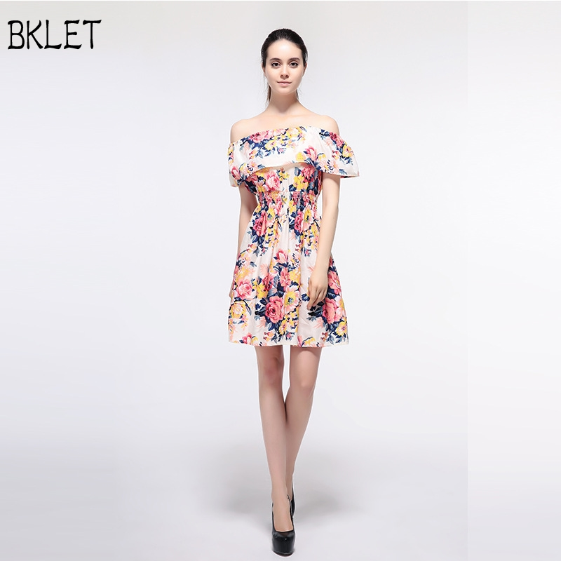 2018 New Women Summer New Style Off Shoulder Boat Collar High Waist Floral Print Flounce Layered A Line Dress Beach Wear