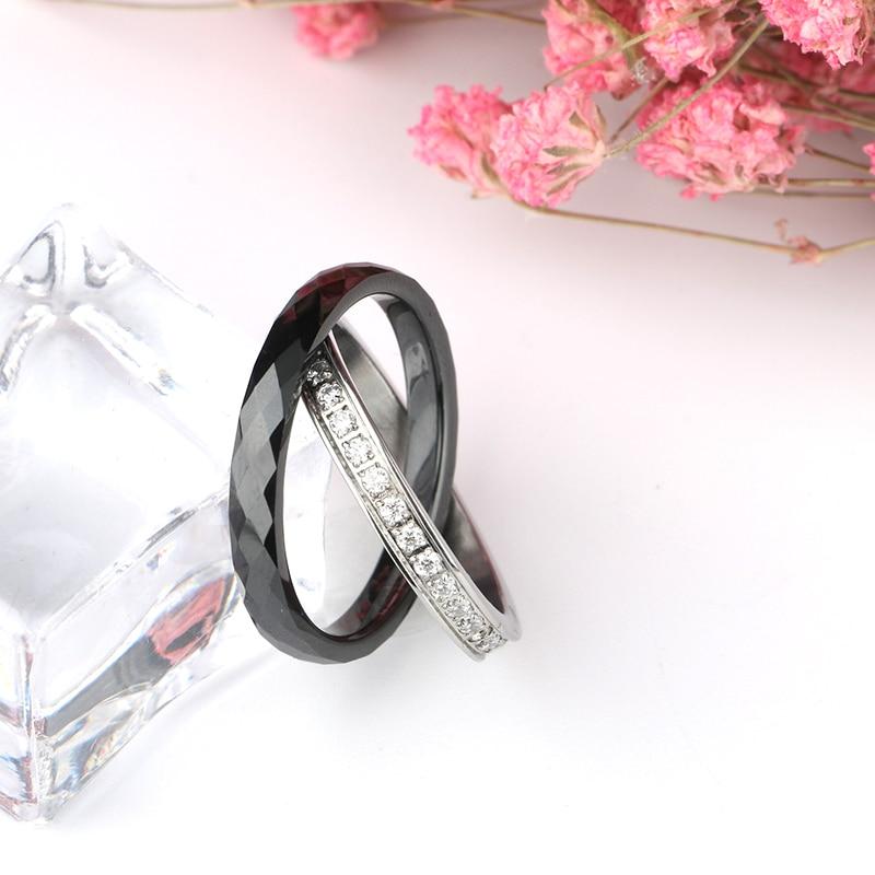 Kvinnor Ringar Tillverkad av Keramik Rostfria Ringar Dubbel Två - Märkessmycken - Foto 4