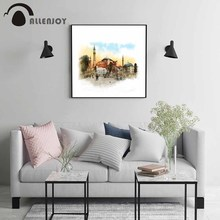 Allenjoy Istanbul Turkey Canvas Paintings Hagia Sophia Sketch Landscape Pictures Watercolor Famous City Poster On the Wall Decor