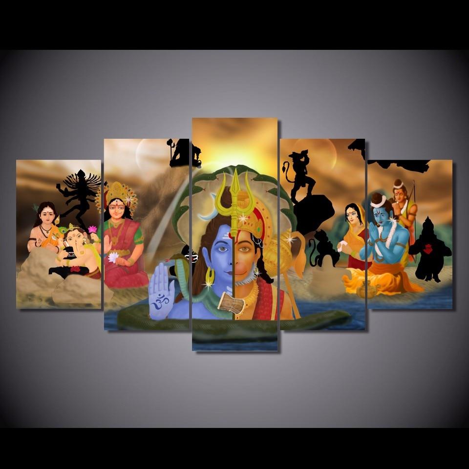 5 Teile/satz Gerahmte HD Gedruckte Indischen Buddha Abbildung Bilder ...