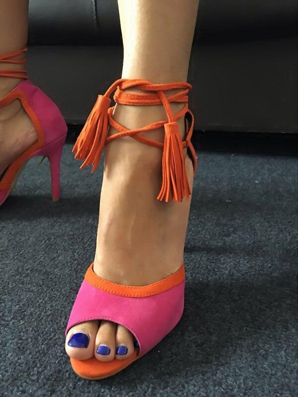 Robe Sandales En Shipping Qualité Haute D'été Bordées rose Tendance Partie Rouge Femmes Up Gros Drop Sandale Talon Dentelle Top Mode Rouge Chaussures PnZUc0n