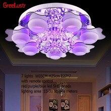 מינימליסטי 3/5 אור צבעוני led קריסטל נברשות שינה שלט רחוק זכוכית צמודי תקרת מנורה קבועה