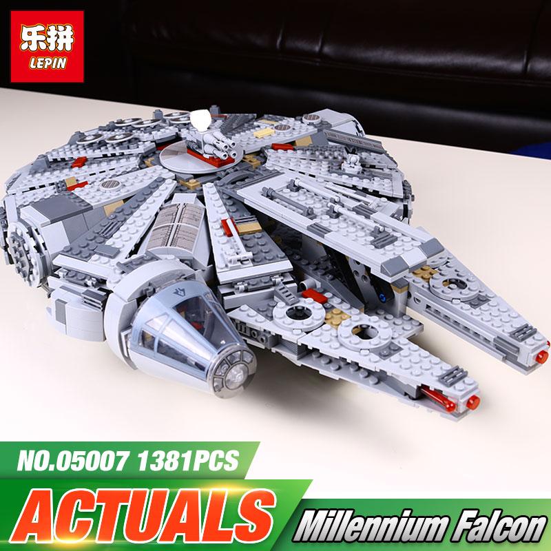New LEPIN 05007 1381pcs font b Building b font Blocks Star Wars Force Awakens Millennium Falcon