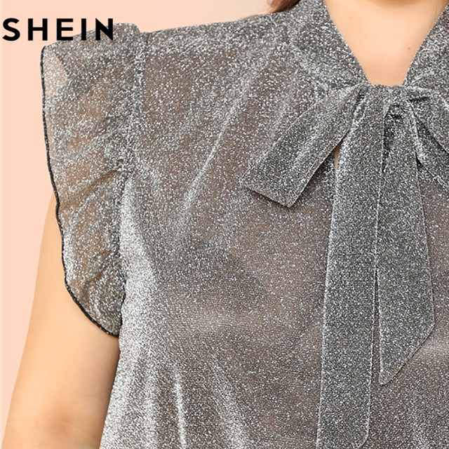 SHEIN Grey Ruffle Trim Tie Neck Plus Size Women Thin Blouses Summer Polyester Sleeveless Elegant Office Lady Solid Top Blouse 3