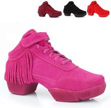 Fringe Dancing Shoes For Women Jazz Sneaker Hiphop Salsa Dance Sneakers For Woman Leather Sport Street Hip Hop Dance Shoes