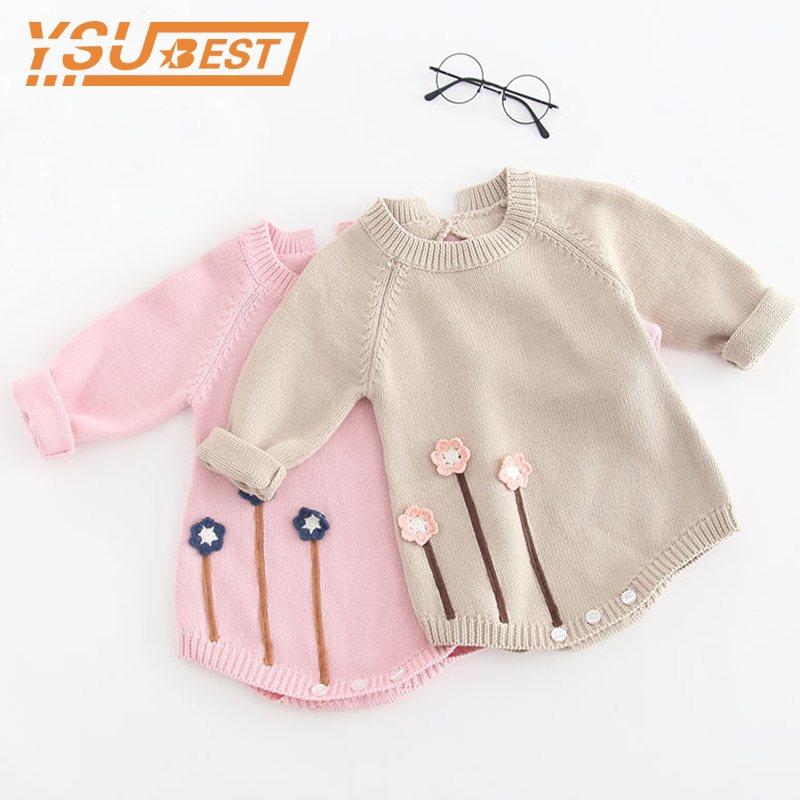 2019 Spring Long Sleeve Newborn Baby Girls Jumpsuit Knitting Baby Girl Romper Hairball Baby Girl Clothes Newborn Baby Rompers