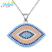 Juya Handmade Multicolor Crystals Turkish Eye Jewelry Pendant Necklace For Women Men Classical Greek Evil Eye Necklace