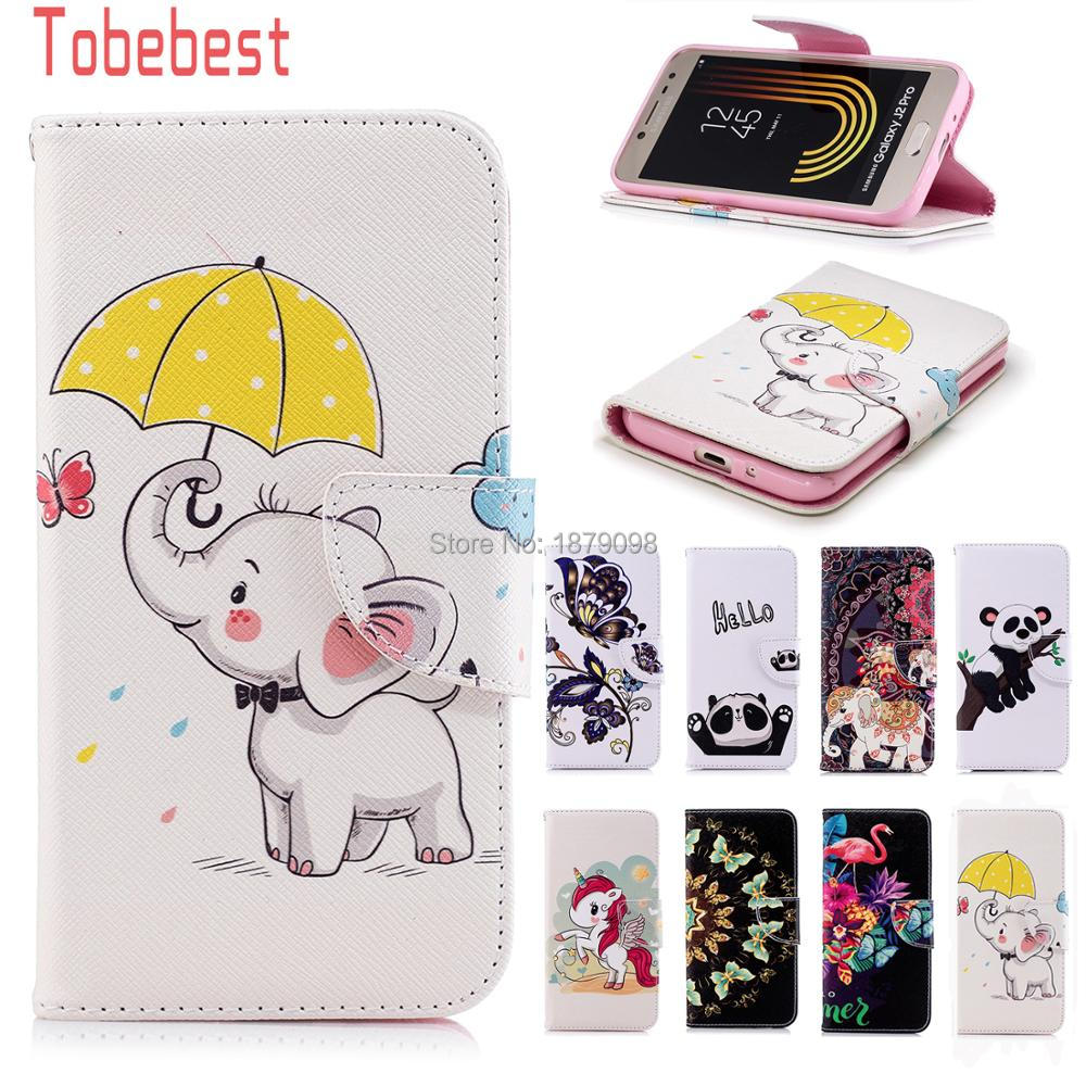 For Samsung Galaxy J2 Pro 2018 J250F PU leather Case Unicorn Panda Elephant Flamingos Flip Wallet Cover for Galaxy J2 Pro 2018