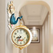 Peacock Wall Clock Modern Design Double Sided 3D Living Room European Clocks Mute Creative Animal Fashioned Two Home Decor