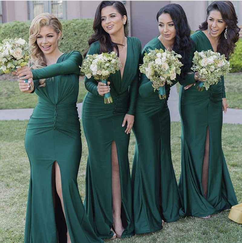Hot Long Sleeves Bridesmaid Gowns Navy Blue/Peach/Ivory/Champagne ...