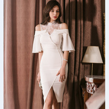 2019 Summer Flare Sleeve Wrap Bodycon Dress Plus Size Lace Patchwork Stand White Women Solid Party Night Robe