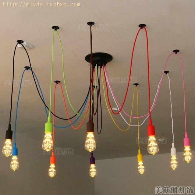 Colorfull American Retro Loft Style Led Pendant Lights Fixtures For Bar Lampe Edison Vintage Lamp