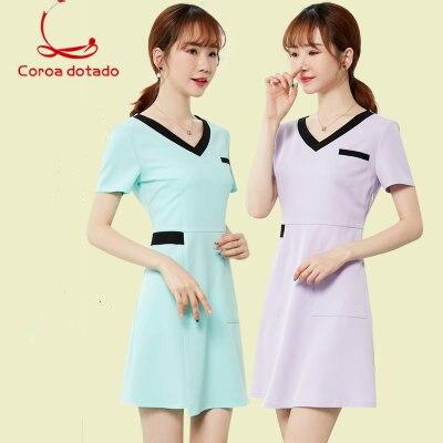 Summer new short sleeve beautician work clothes dress beauty salon technician package skirt