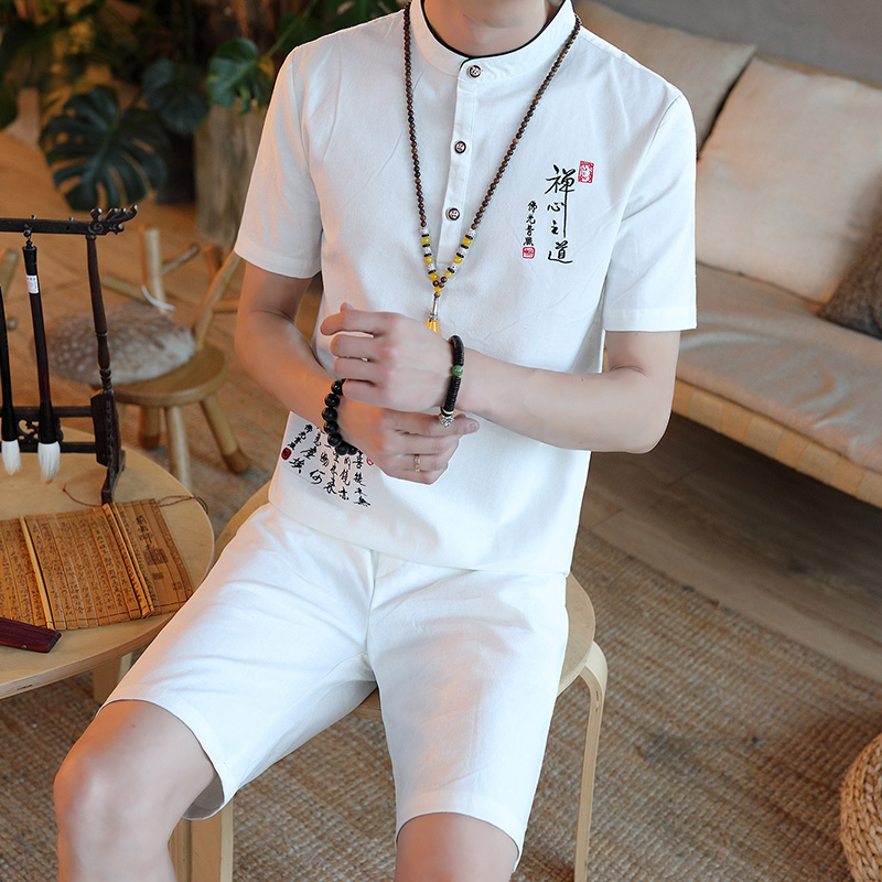 Cigna Chinese Style Embroidery Mens Short Sleeve 2 Piece Sets Size S 5XL Four Colors Choice Brands Men Set 2018 New Men & Shorts ...