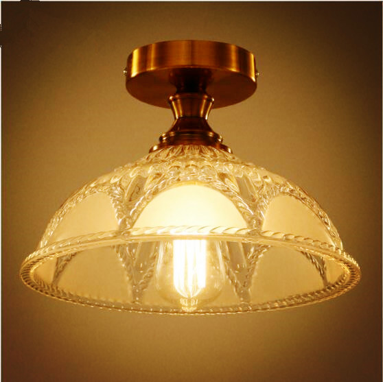 American Country Vintage ceiling Light Fixtures Home Lighting Corridor Aisle Edison LED Ceiling Lights Plafonnier Lampara Techo vintage ceiling lamps american style copper lamps ceiling light personality simple country balcony lamp home lighting corridor