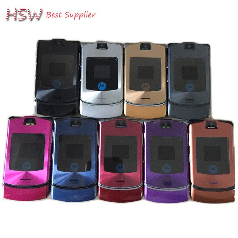100% débloqué Original Motorola Razr V3i Flip GSM Bluetooth MP3 quadri-bande Mobile téléphone portable remis à neuf livraison gratuite - 2