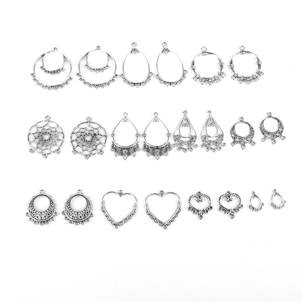 10pcs/lot Alloy Metal Antique Silver Plated Multi hole Earrings Connectors Jewelry Accessories For DIY Handmade Jewelry Making