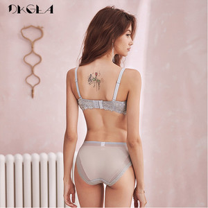 Image 2 - New Gray Brassiere Deep V Sexy Bra Set Push Up Women Underwear Set Cotton 1/2 Cup Bras Wire Free Lace Lingerie Set Embroidery