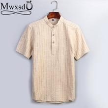 Mwxsd brand Summer 2019 Casual Mens Striped Linen Cotton Pullover Shirts Men Soft Breath shirt  short sleeve Male