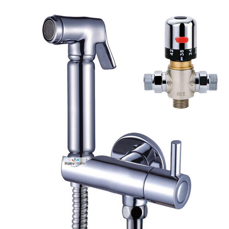 bidet faucets mixers taps brass hand held bidet shower sprayer valve with holder 12 shower hose