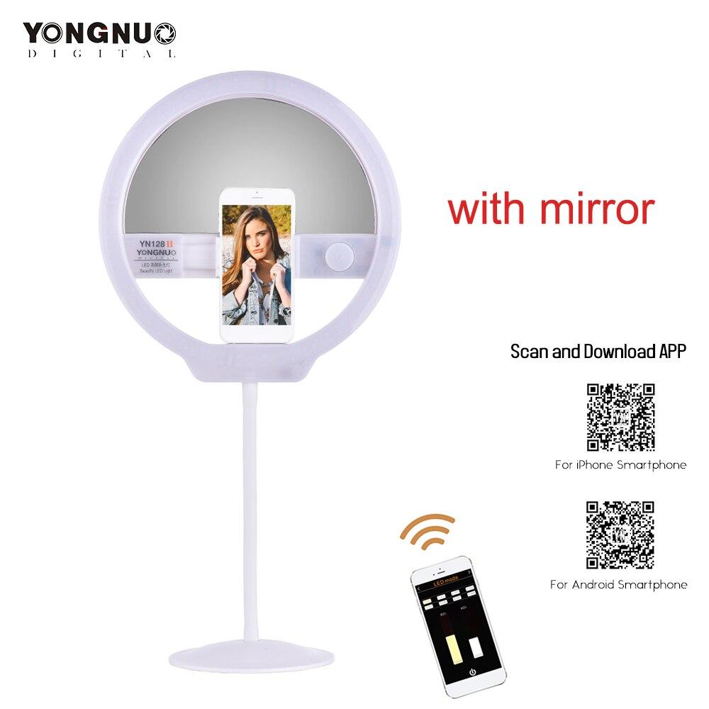 YONGNUO zaktualizowane YN128 II fotografia lampa LED Selfie pierścień światła z lusterko do makijażu upiększyć lampa wideo do telefonu na żywo w Oświetlenie fotograficzne od Elektronika użytkowa na AliExpress - 11.11_Double 11Singles' Day 1