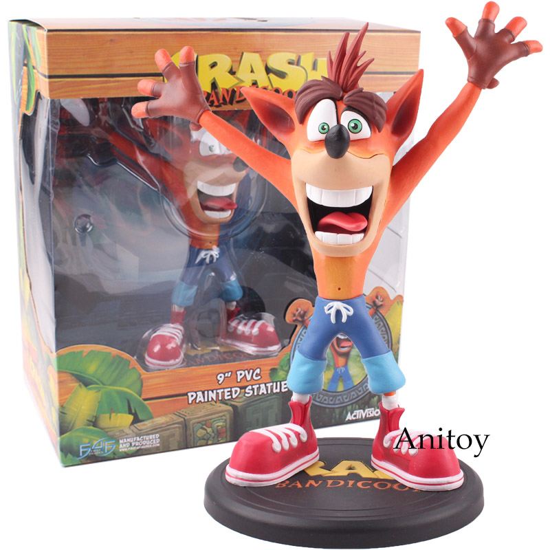 все цены на Anime Crash Bandicoot Action Figure Game Crash 9'' PVC Painted Statue Activision ACT PVC Collectible Model Toys 22.5cm KT4819