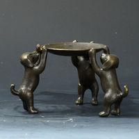 Chinese Bronze Handwork Plate w 3 Dogs