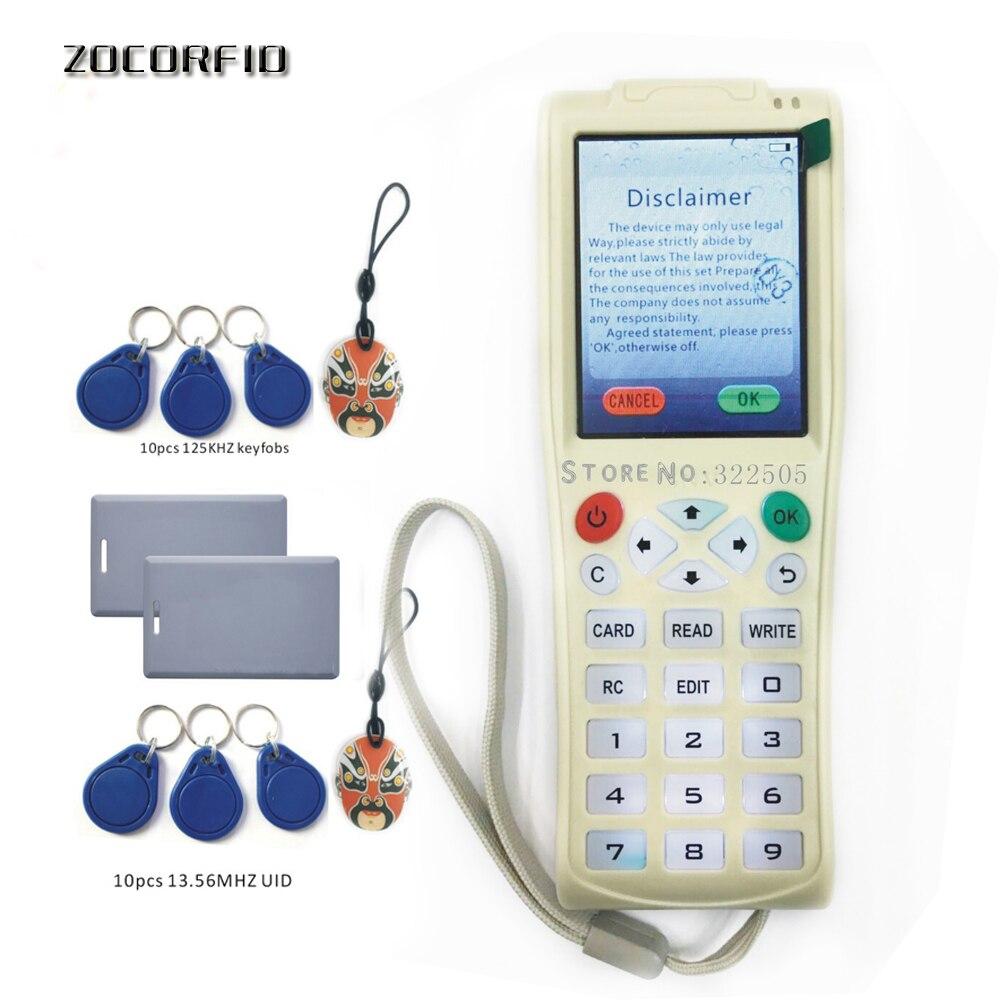 Máquina de copia de llave de mano i-Copy5 original con función de decodificación de todos los sectores NFC tarjeta máquina clave RFID copiadora + batería de litio Lector de fotocopiadora de tarjetas RFID NFC, duplicador inglés, programador de frecuencia 10 para tarjetas de ID IC y todas las tarjetas 125kHz + 5 uds. ID 125k