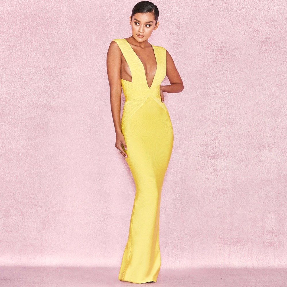 High Quality Yellow V-neck Sleeveless Long Rayon Bandage Dress Cocktail Party Bodycon Dress L-89