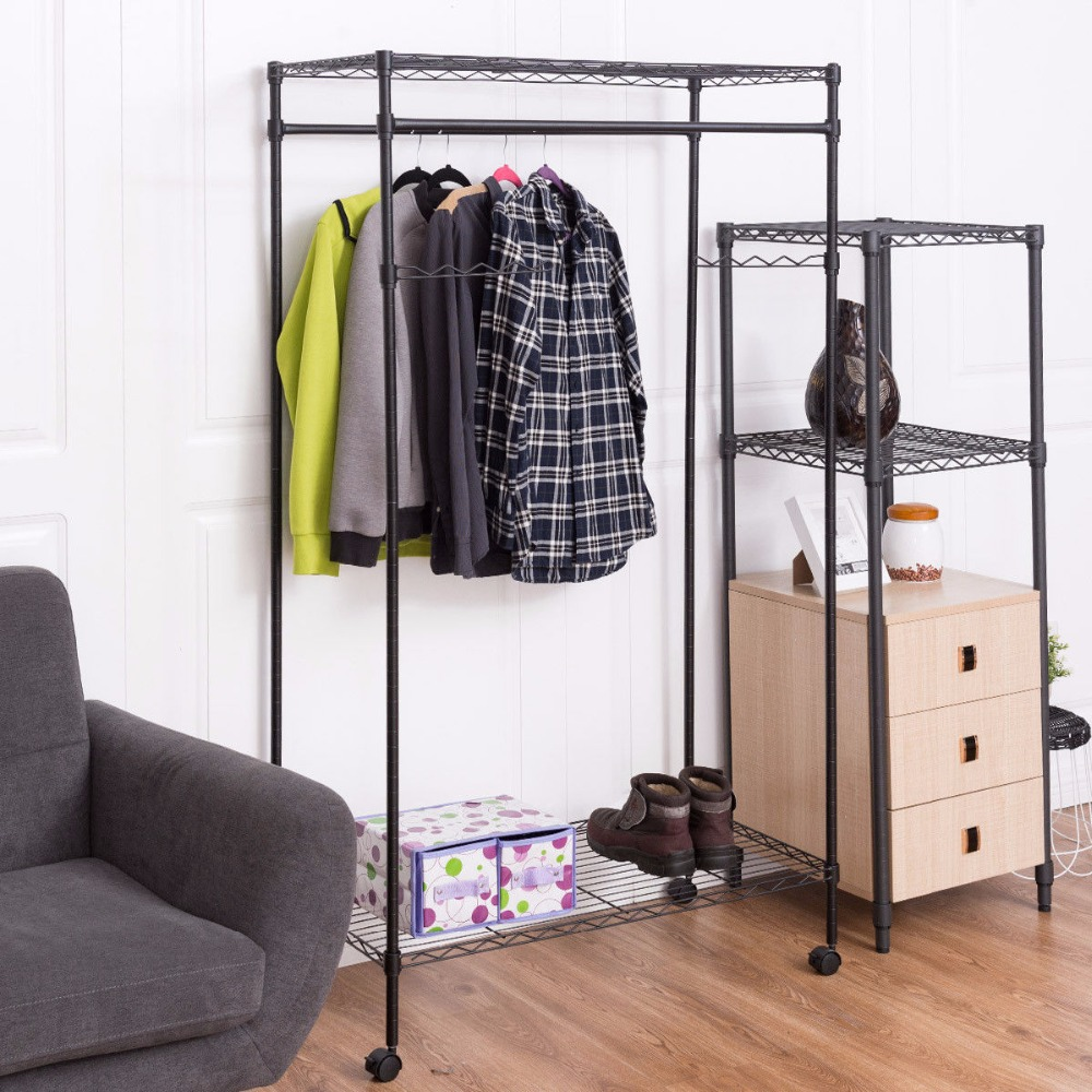 Giantex Garment Rack Double Hanging Clothes Rail Rolling Adjustable Rod Portable Wardrobe Storage Shelf Metal Coat Rack HW56493