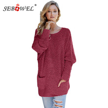 SEBOWEL Casual Winter Popcorn Knit Woman Sweater Oversized Long Sleeve Tops Pullover Female Warm Cozy Sweaters with Pockets 2019