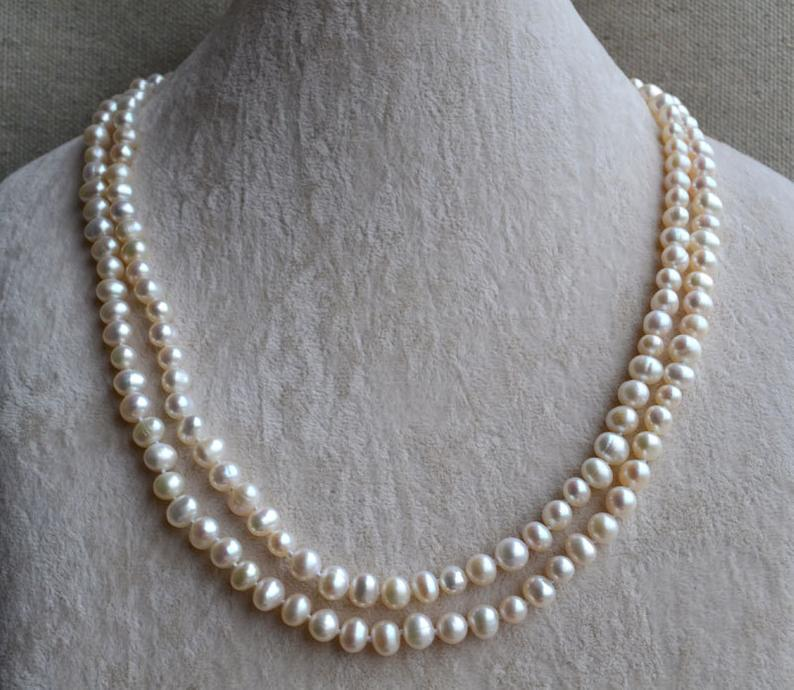 Perfect WomenS Pearl Jewelry,White Color 6-7mm Natural Freshwater Pearl Necklace,40inches Wedding Birthday Gift NecklacePerfect WomenS Pearl Jewelry,White Color 6-7mm Natural Freshwater Pearl Necklace,40inches Wedding Birthday Gift Necklace