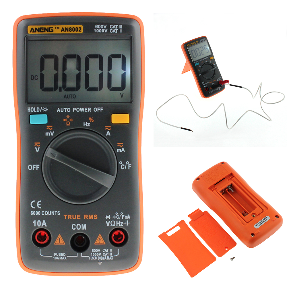 AN8002 Multimeter 6000 Counts Back Light AC/DC Ammeter Voltmeter Ohm Frequency Diode Temperature Y40 an8002 multimeter 6000 counts back light ac dc ammeter voltmeter ohm frequency diode temperature y40