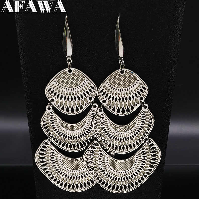 2019 Fashion Silver Color Stainless Steel Statement Earrings for Women Big Long Ethnic Earrings Jewelry aretes de mujer E612623