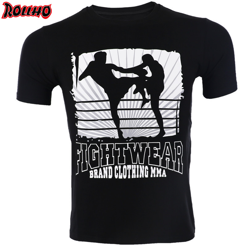 ROLLHO Short-sleeved FIGHTING T-shirt Mma Muay Thai T Shirt Elasticity Water Absorption Quick-drying Wolf Short-sleeved T-shirt