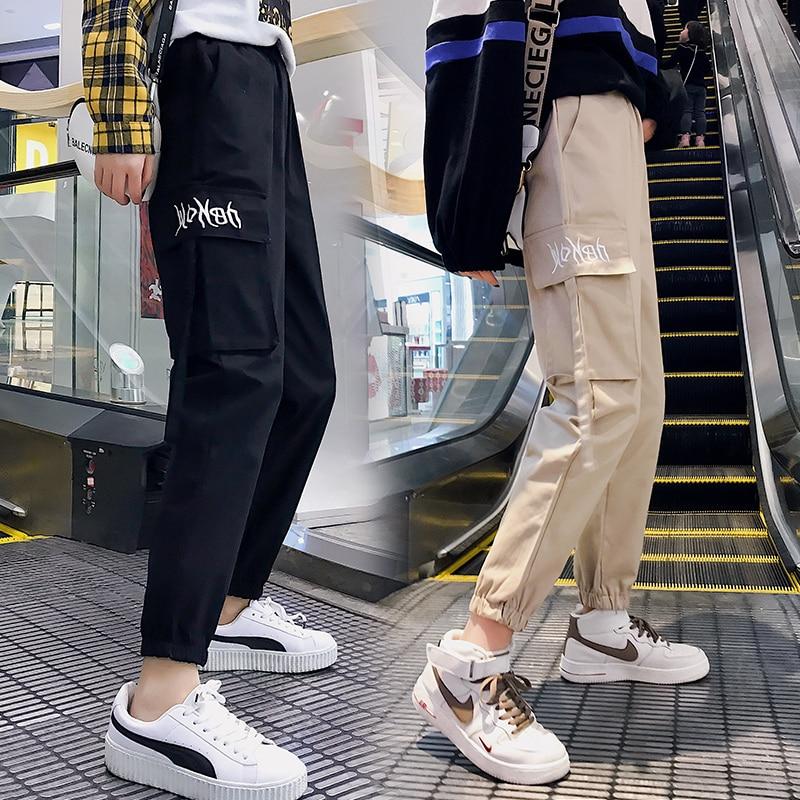 Elastic High Waist Khaki Black Joggers Women Casual Harajuku Loose Cotton Big Pocket Cargo Pants Trouser Korean Fashion Pantalon