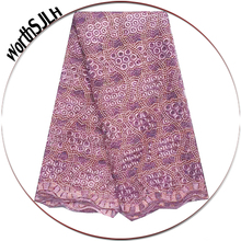 Nigeria Fashion African Tulle Lace Fabric Nigerian Fabrics 2019 Lilac White Africa Net Embroidery Beads