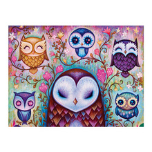 DIY diamond paitning cartoon owls wall decor flower embroidery cute full mosaic owl group