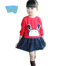 Фотография Winter Cute Girls Spot Print Sweater Dresses Cartoon Rabbit Ruched for Baby Girls Leisure Dress Clothing Set