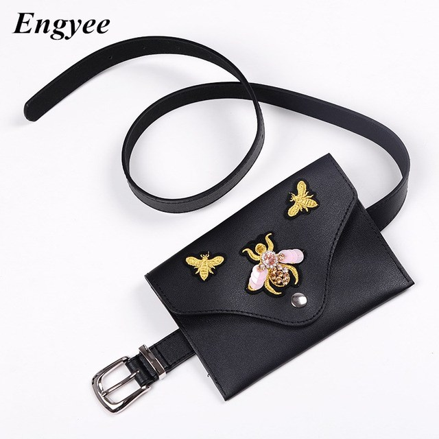 Engyee Vintage Mini Waist Belt Bag Women Leather Waist Pack Fanny Pack For Women Bum Bag Ladies Travel Wallet Summer Bags