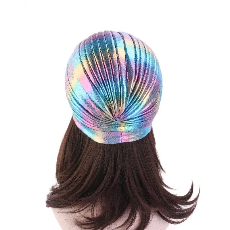 Image 3 - Helisopus Laser Silky Ruffle Turban for Women Muslim India Cap  Headscarf Chemo Alopecia Hair Loss Hat Bonnet Hair AccessoriesWomens  Hair Accessories
