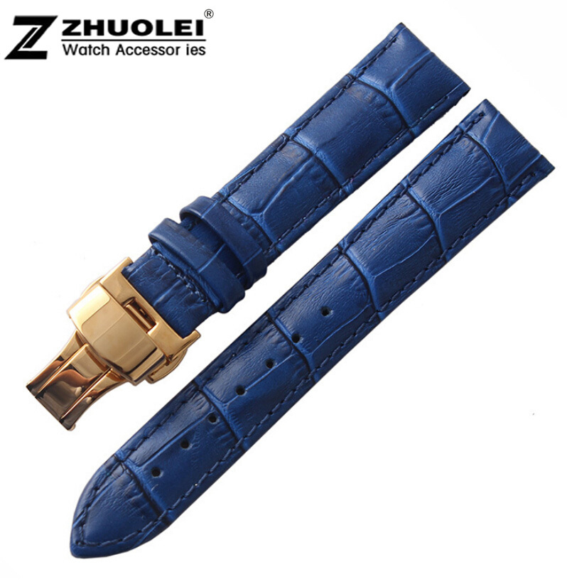 16mm 18mm 19mm 20mm New Blue Alligator Grain Genuine Leather Watch Band Strap Bracelets Gold Butterfly Buckle Clasp new mens genuine leather watch strap bands bracelets black alligator leather 18mm 19mm 20mm 21mm 22mm 24mm without buckle