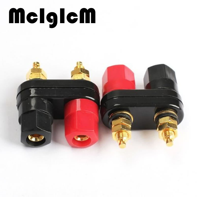 2Pcs/Lot Connecter Banana Plug Gold Plate Red Black Connector Terminal Banana Plugs Binding Post in Wire Connectors 4MM areyourshop hot sale 50 pcs musical audio speaker cable wire 4mm gold plated banana plug connector