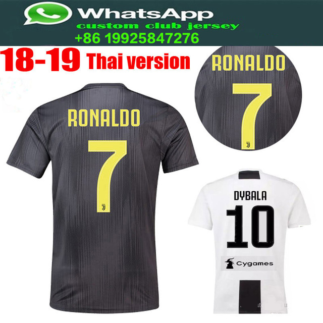 ee4bc2d50 best quality 2018 2019 Juventus Soccer Jersey best quality Home away  RONALDO DYBALA football 18 19 shirt size S-XL Free shipping